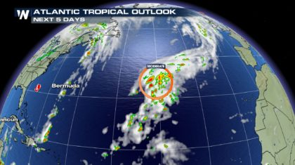 New Area of Tropical Development in Central Atlantic