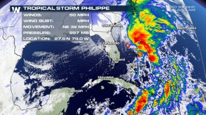 Tropical Storm Philippe Moves Away from Florida