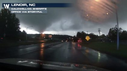 Police Dash Cam Films Tornado in North Carolina
