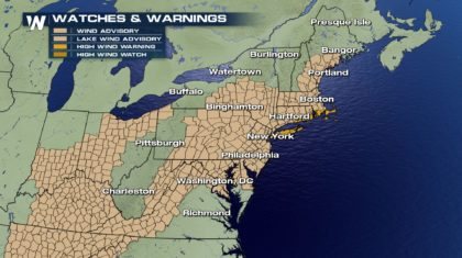 Strong Winds Batter Northeast Into Sunday Morning