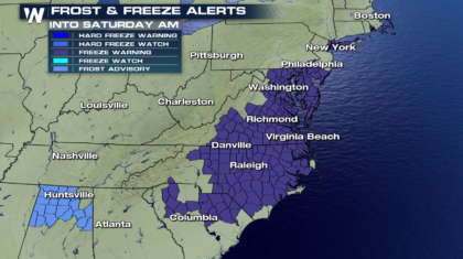 Freeze Warnings in the Southeast and Mid Atlantic