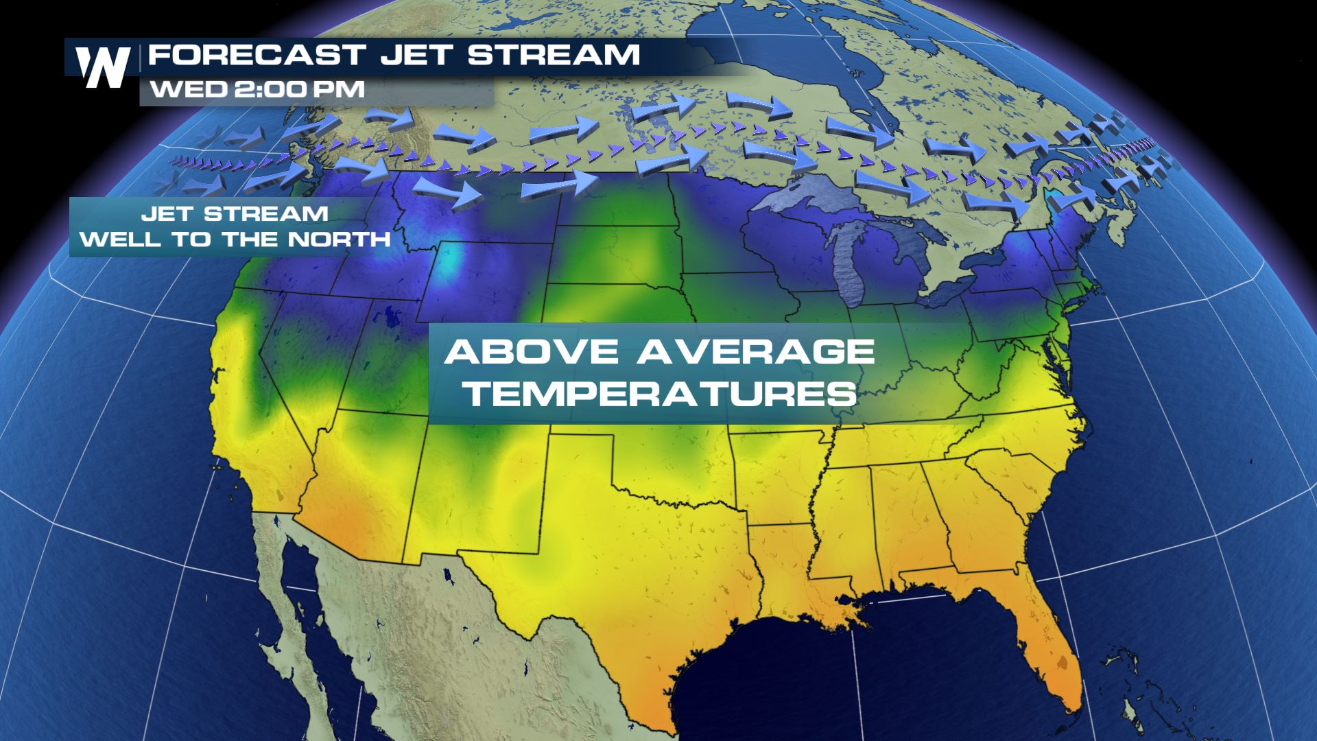 Above Normal Temperatures for the Lower 48 States on Wednesday ...