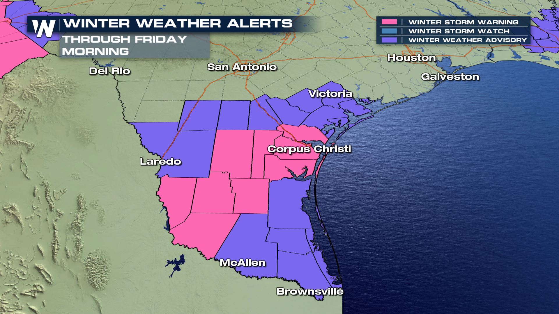 Rare Winter Storm Warning in Corpus Christi, Texas
