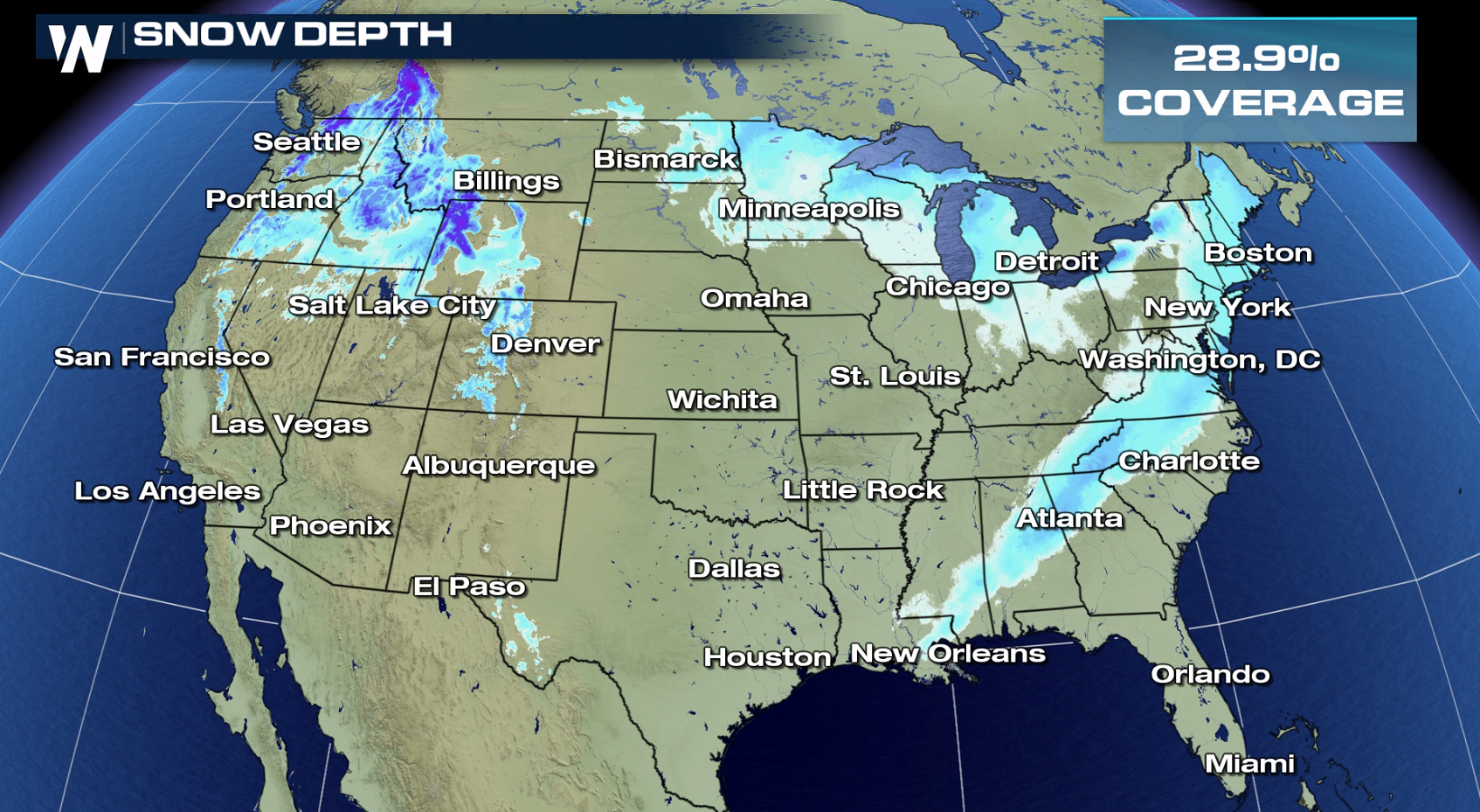 Dreaming Of A White Christmas A Look At The Chances In Your - Current Us Snow Cover Map