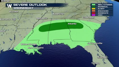 Severe Weather Chances for Mississippi, Alabama and Georgia on Wednesday