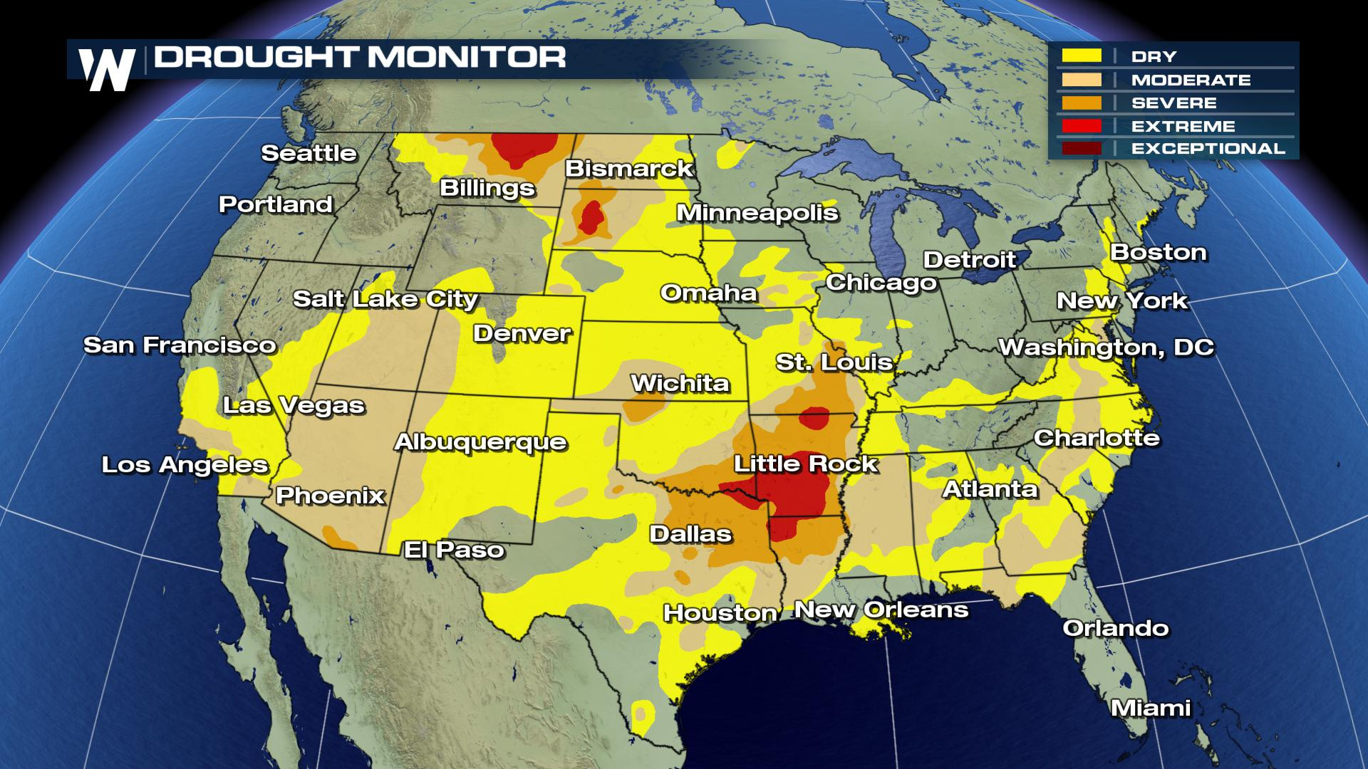 Drought Conditions Spread Across the United States ... on united states national map, united states satellite map, united states road conditions map, united states extreme weather map, united states radar map, united states temperature map, united states annual rainfall map, united states air quality map, united states canada map, united states earthquakes map, united states severe weather map, united states precipitation map, united states uv index map, united states forecast map, united states lightning map, united states surface map, united states wind map,