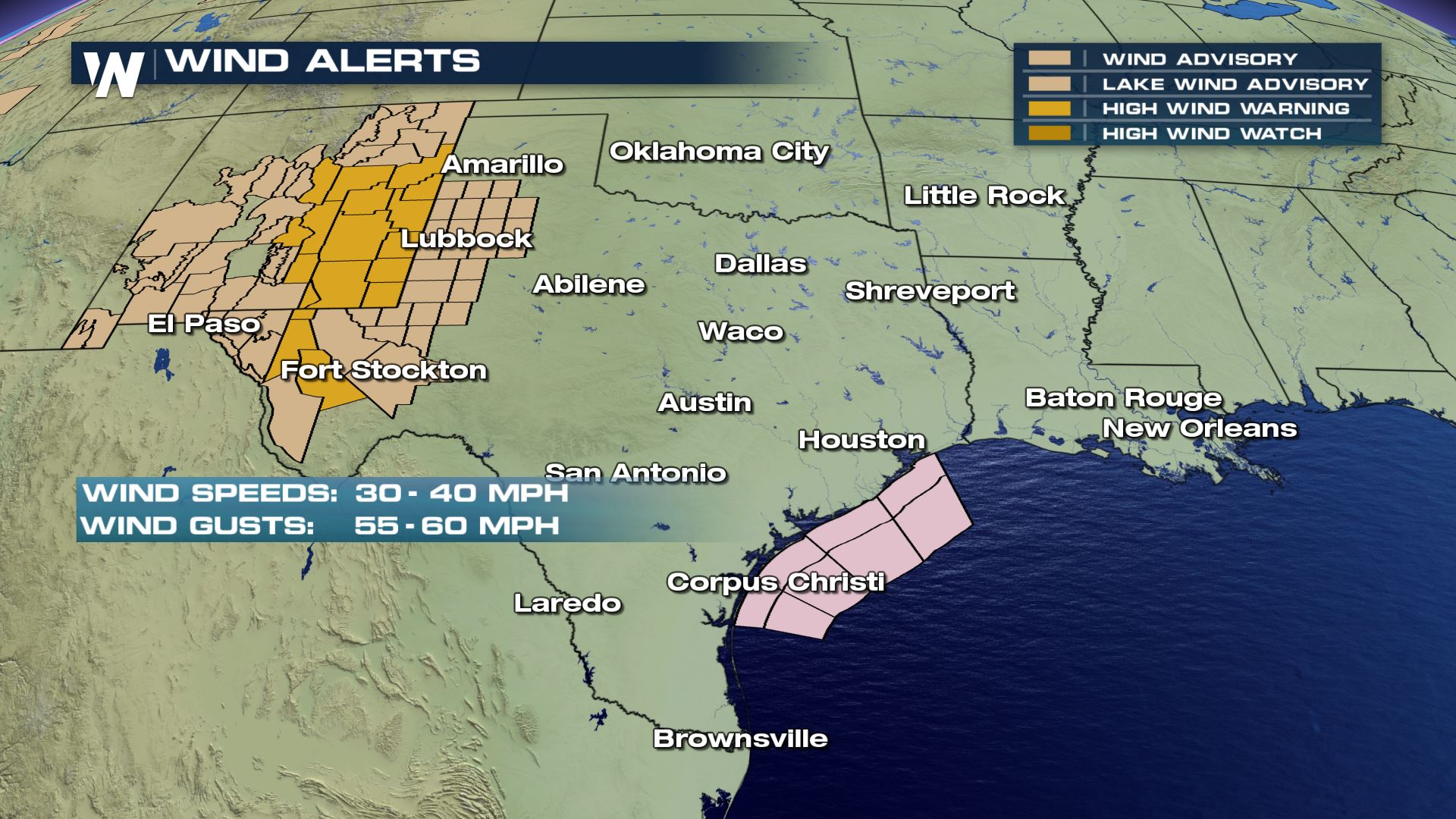 From New Orleans Warnings For Texas >> High Winds For New Mexico And Texas Wednesday Weathernation