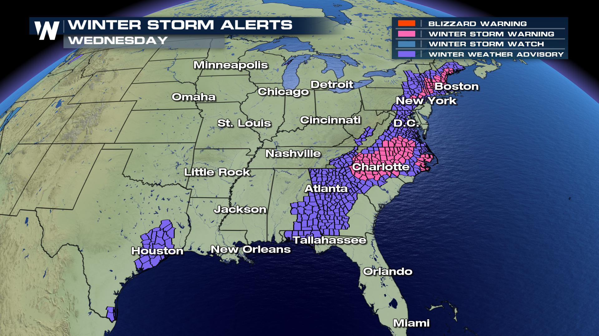 Winter Weather Continues To Impact The South East Coast
