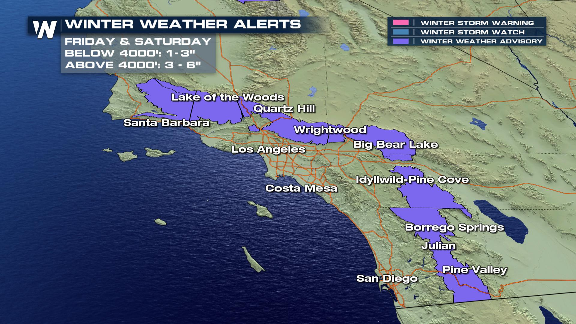 Weather Southern California Map.Snow In Southern California Really Weathernation