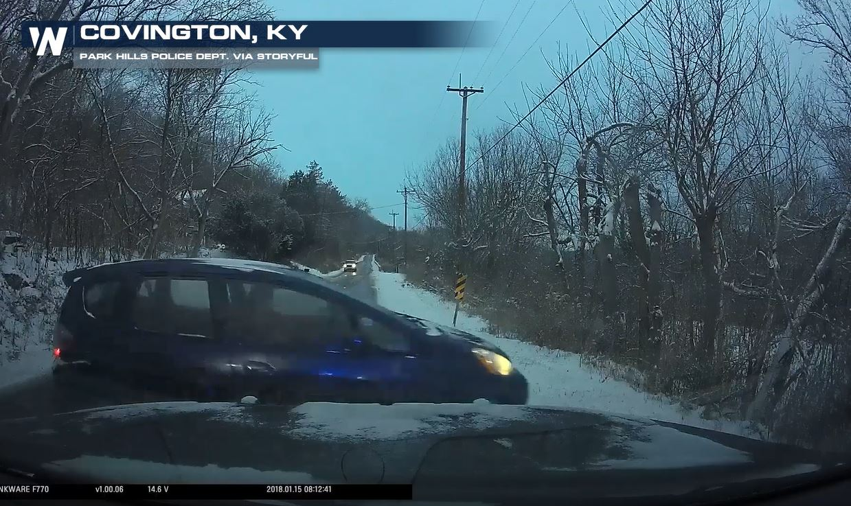 VIDEO: Black Ice Causes Car to Slam Into Police Car in Kentucky