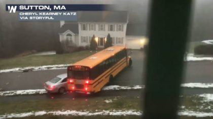 School Bus Full of Children Slides Down Icy Street, Slams Into Car