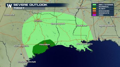 Thunderstorms Possible Across the South