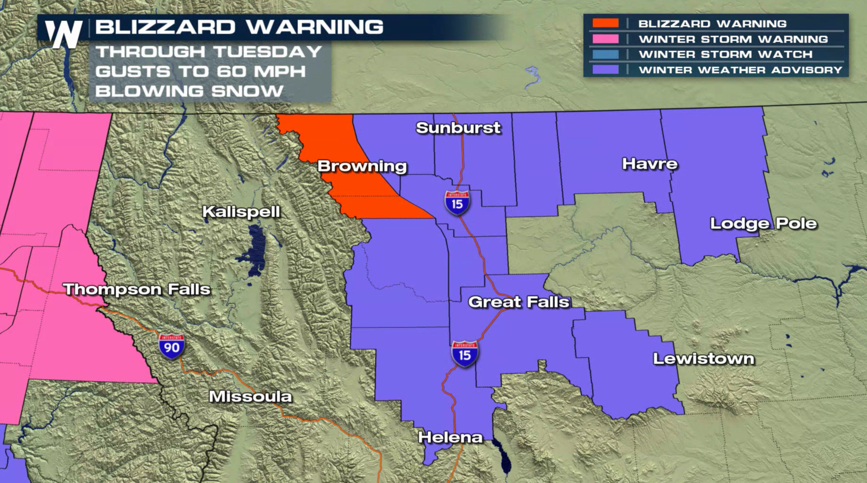 Blizzard Warnings in Montana with More Snow Ahead for the