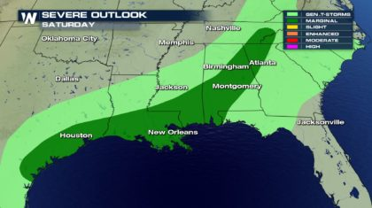 More Severe Weather Threats In The Southeast On Sunday