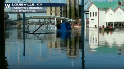 Dumpster Towed Through Louisville Floodwater