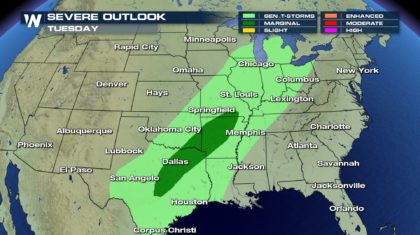 Severe Storms Possible Tuesday Across the South