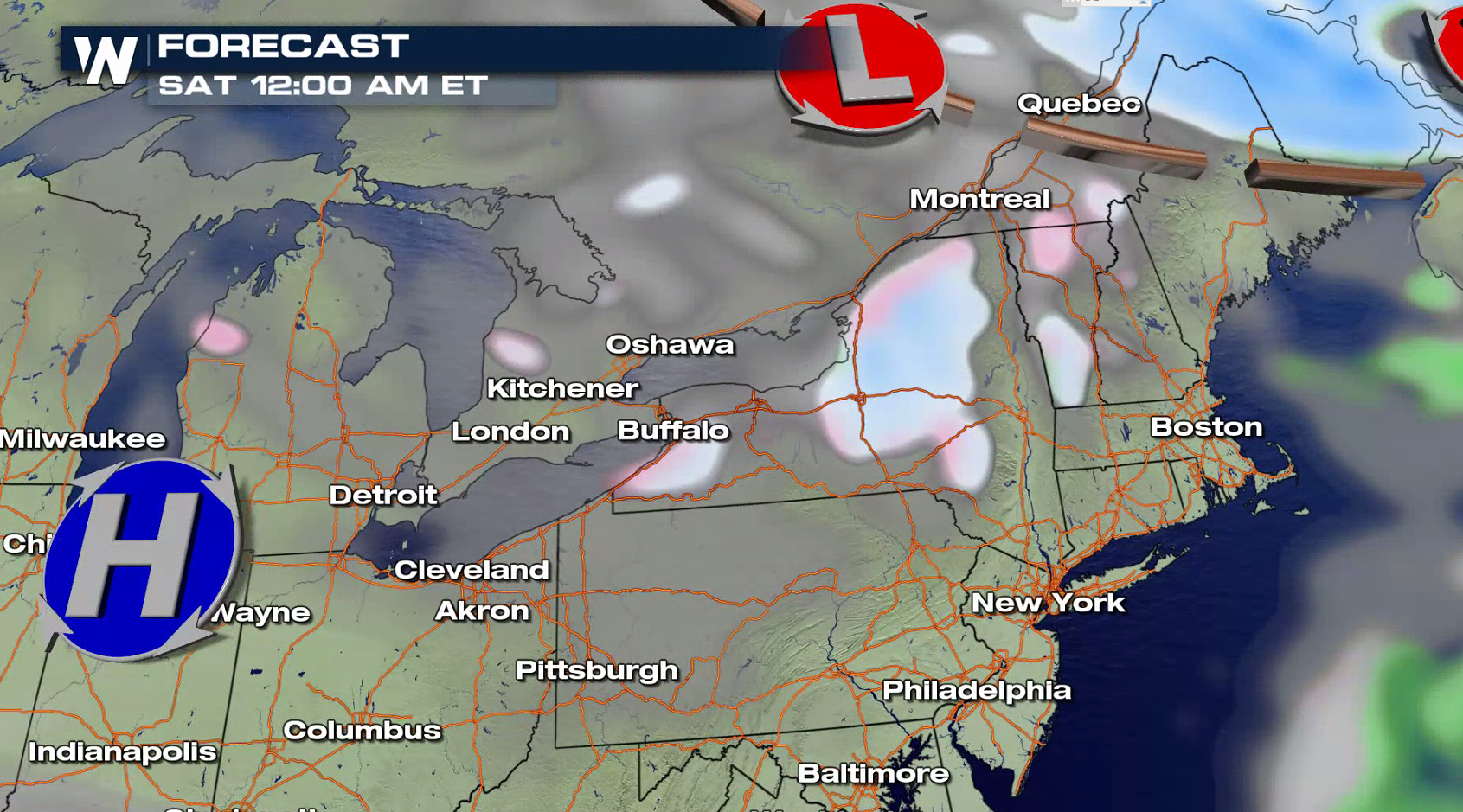 band of heavy lake effect snow in the great lakes