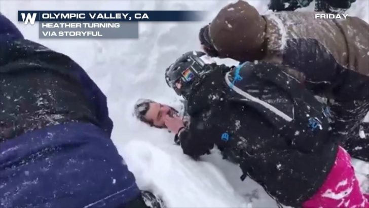 MUST WATCH: Man Buried in Snow Rescued