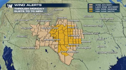High Wind Alerts Continue Through Monday