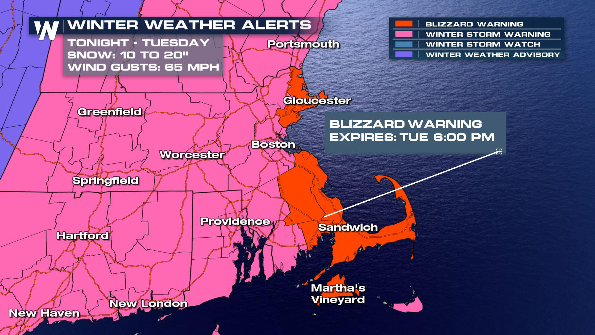 A winter storm warning has been issued for Boston much of the surrounding  areas. There