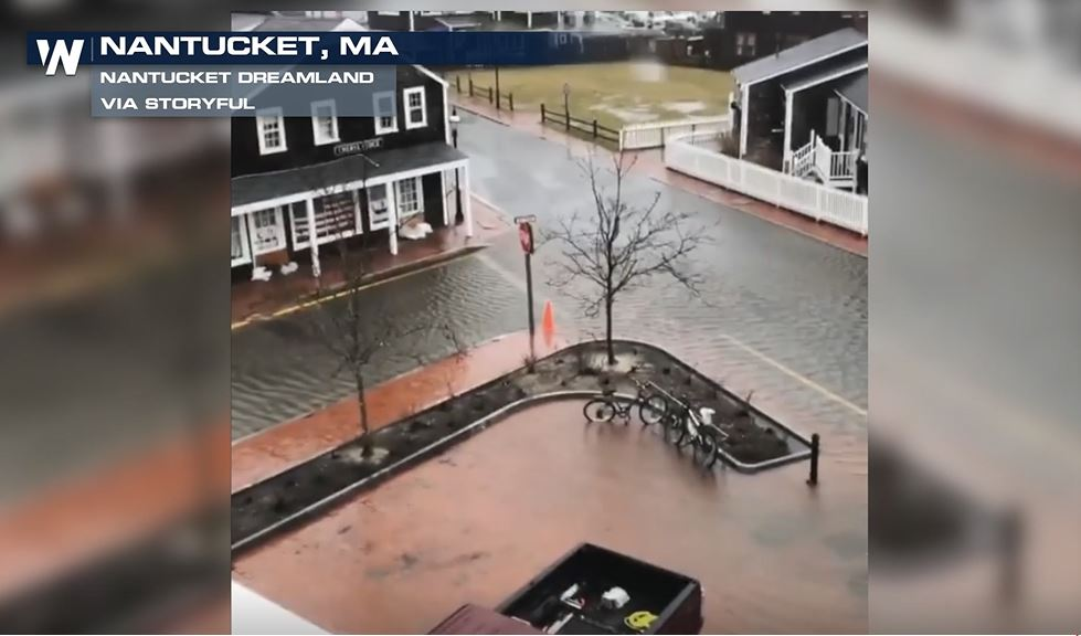 Flooding Inundates Nantucket Streets During High Tide