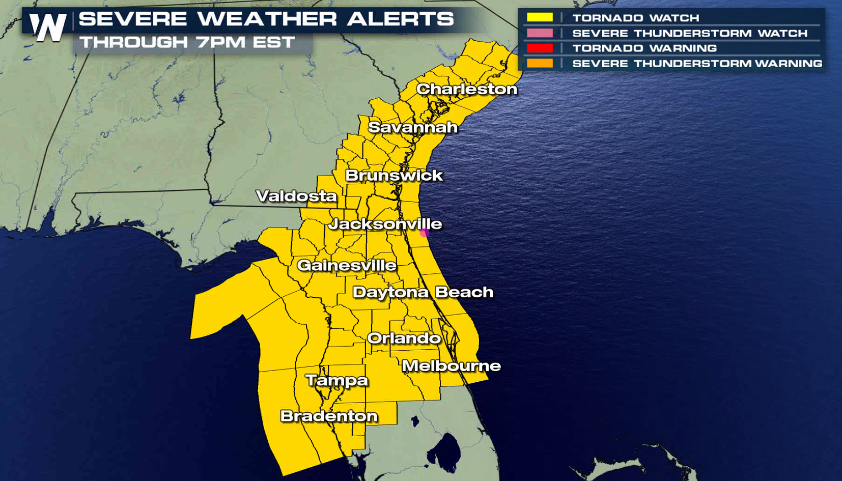 Florida Tornado Map.Severe Weather Threat From Florida To South Carolina Today