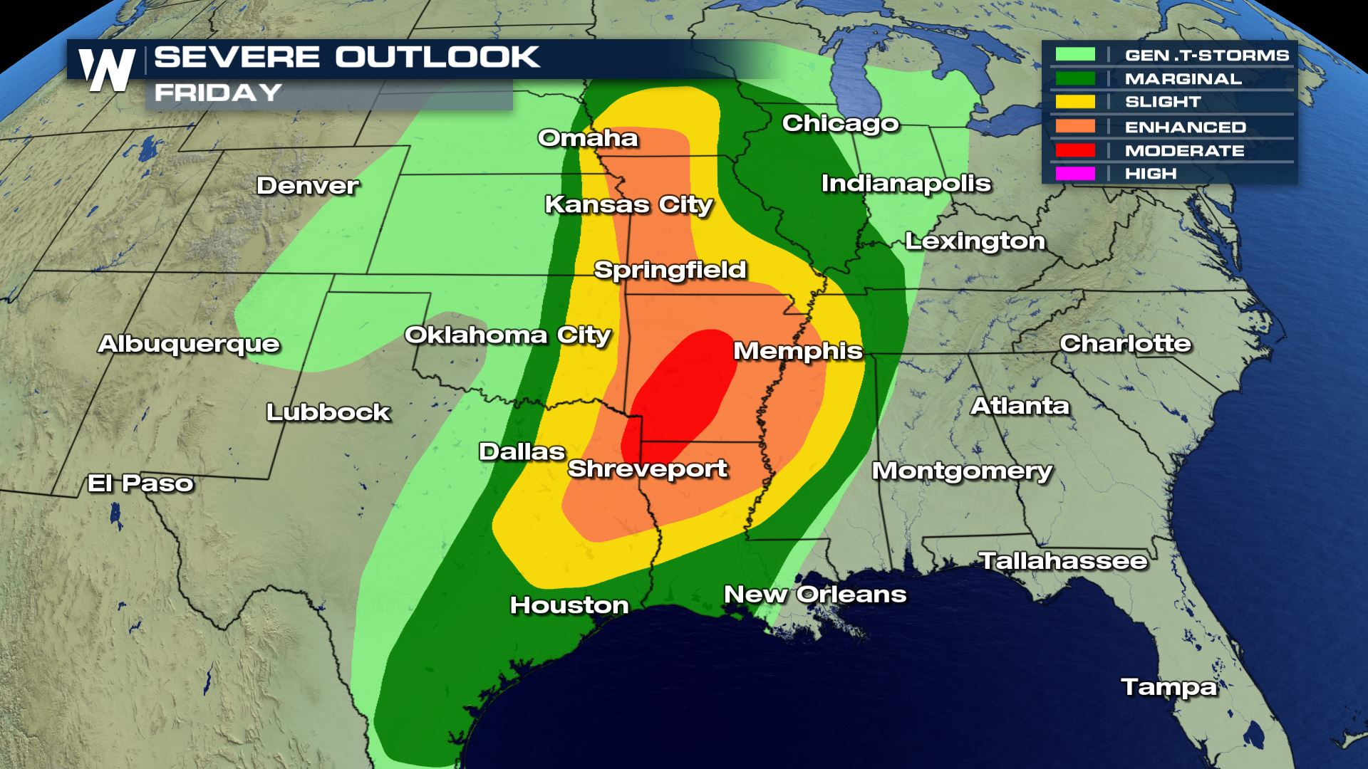 Moderate Risk for Severe Weather for Friday - WeatherNation