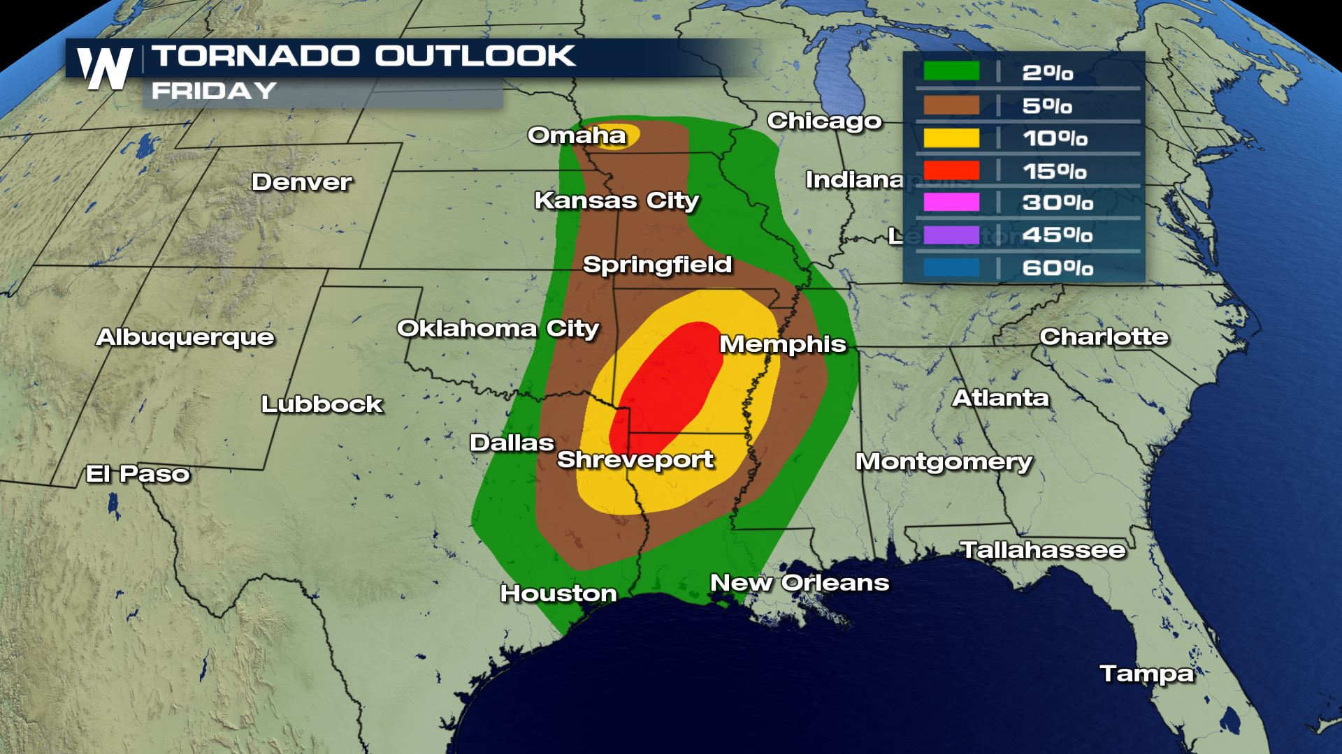 Severe Weather Map Moderate Risk for Severe Weather for Friday   WeatherNation Severe Weather Map