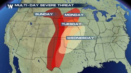 Confidence Increases in Multi-Day Severe Weather Event