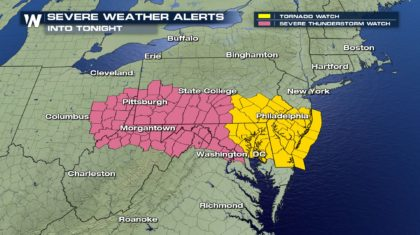 Developing: Tornado Watch Issued for Mid-Atlantic