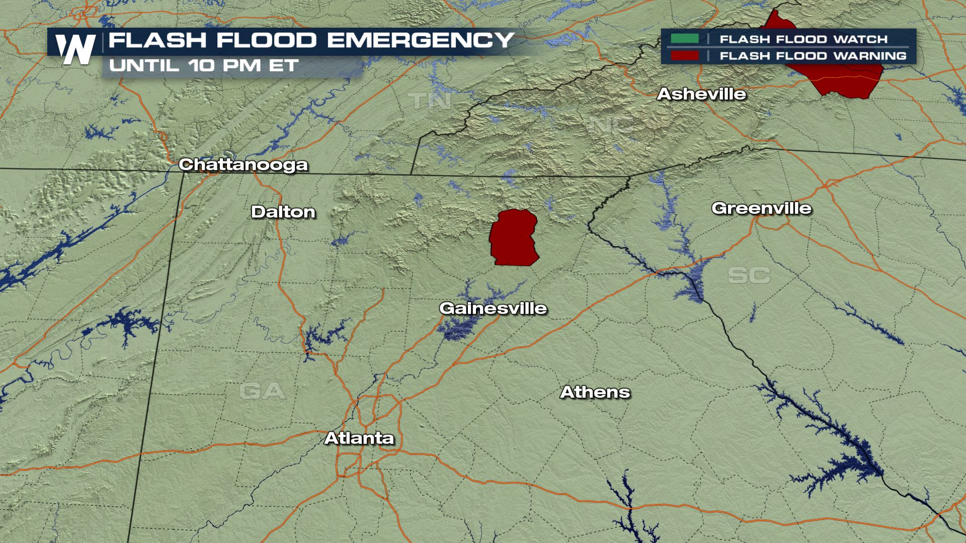 Flash Flood Emergency in Northeast Georgia