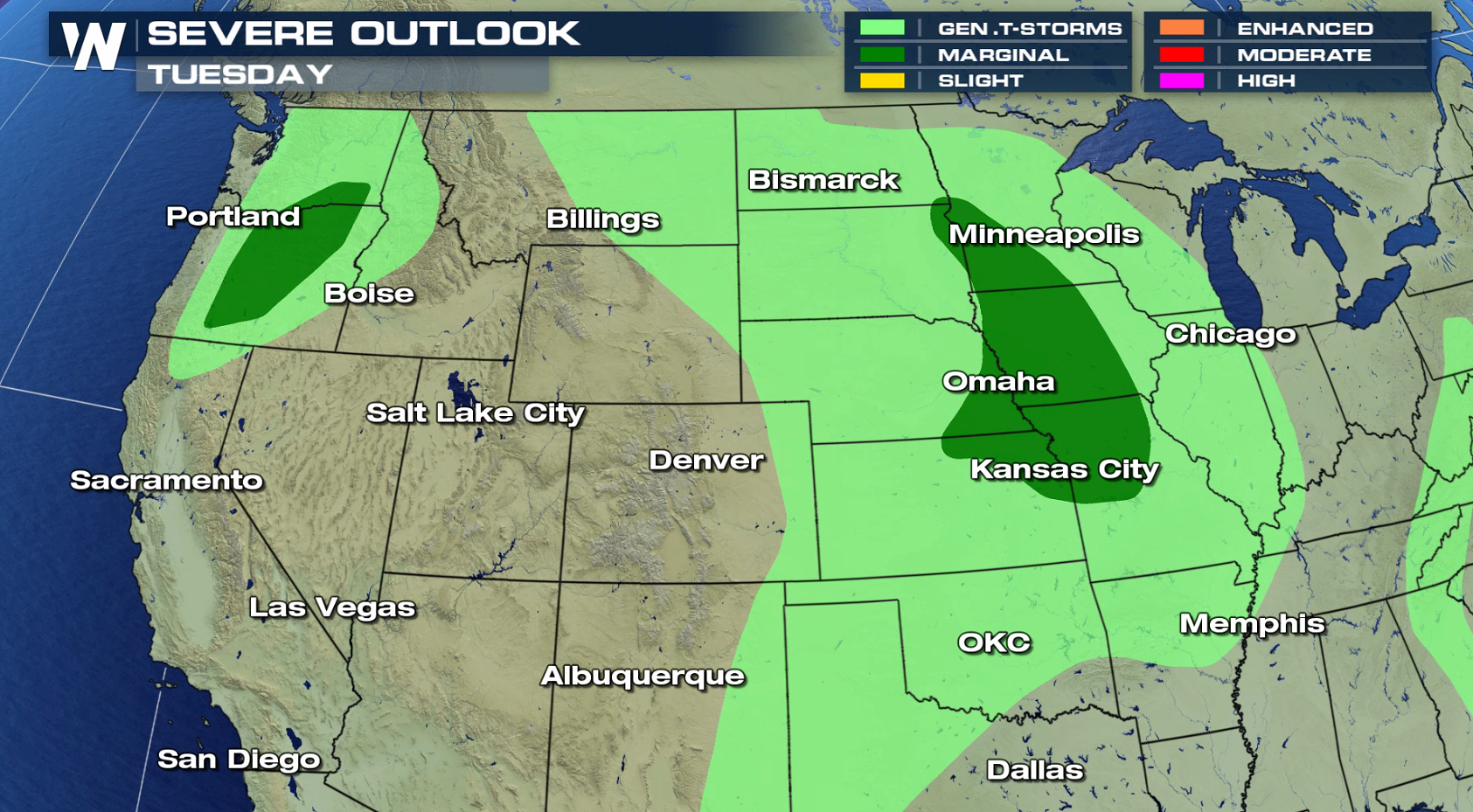 Marginal Severe Weather Risk Today in the Plains and
