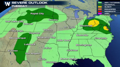 Severe Weather Possible in the Middle Atlantic and Ohio Valley Today