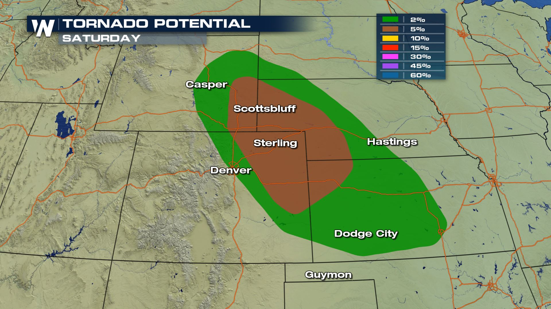 Tornado Map Colorado Tornado Chances for Colorado, Nebraska and Kansas Saturday
