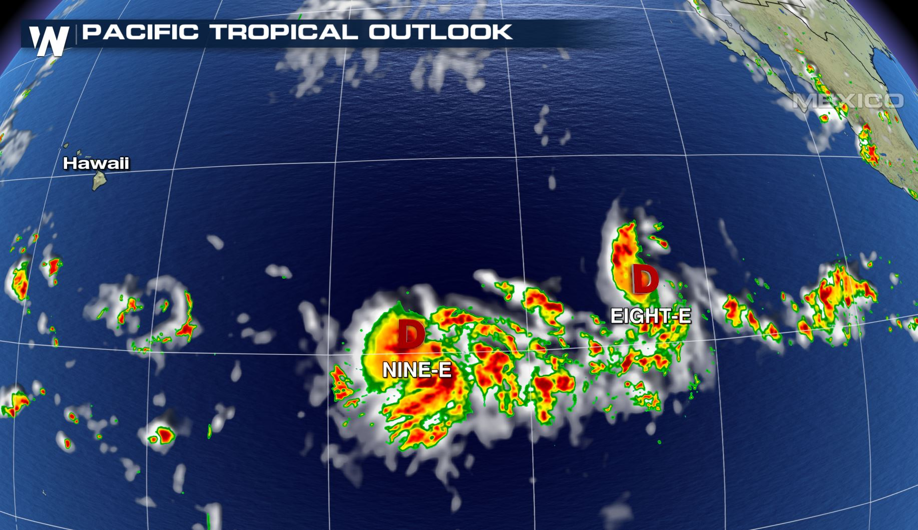 Two Tropical Depressions Form in the Pacific