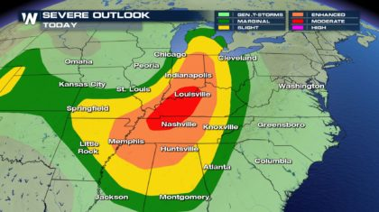 A Moderate Risk of Severe Weather Forecast Friday