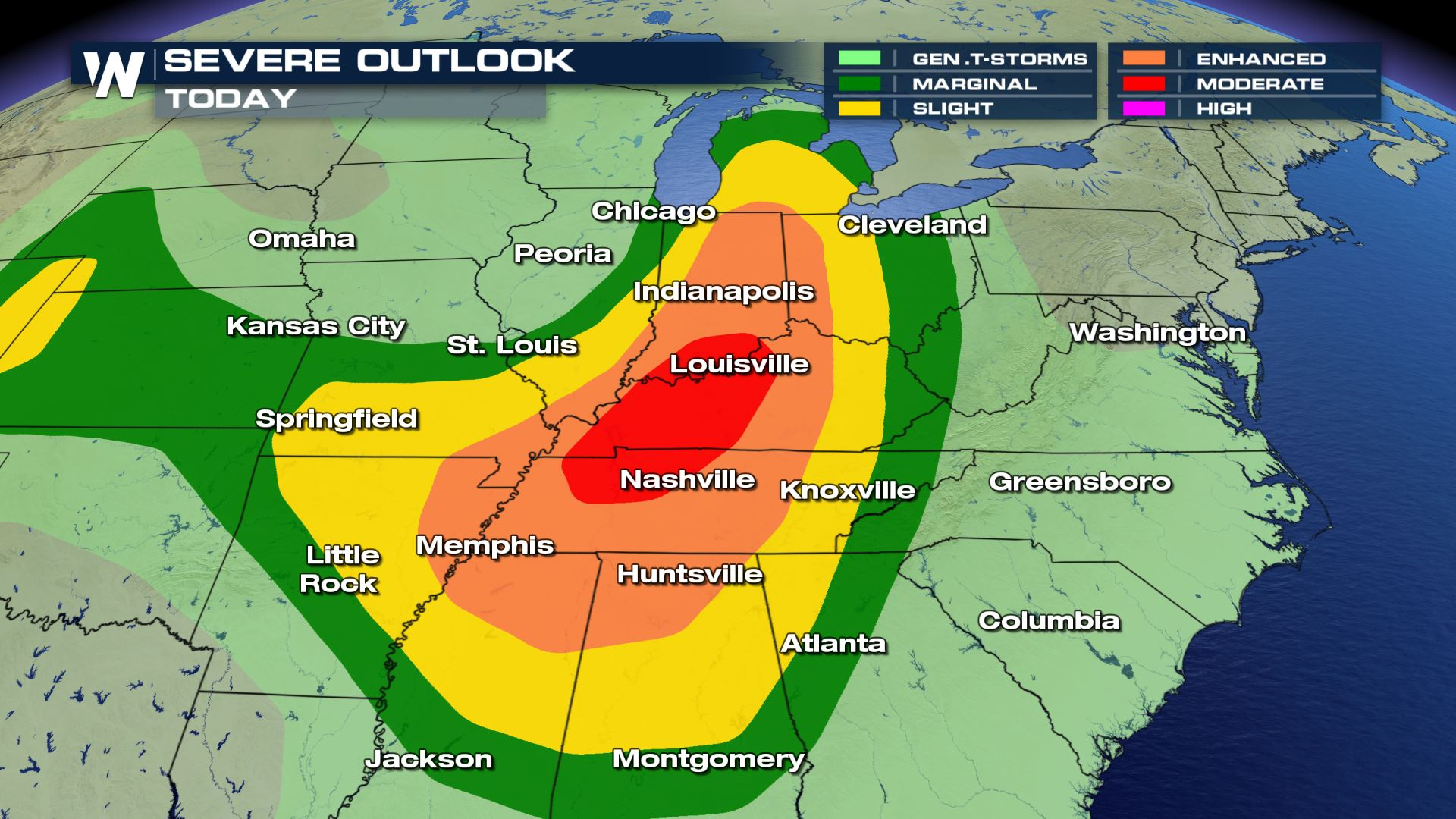 Huntsville Weather Map.A Moderate Risk Of Severe Weather Forecast Friday Weathernation