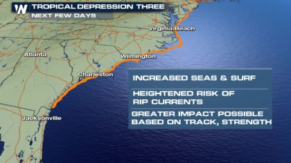 Tropical Depression Three Lurks Off Carolina Coast