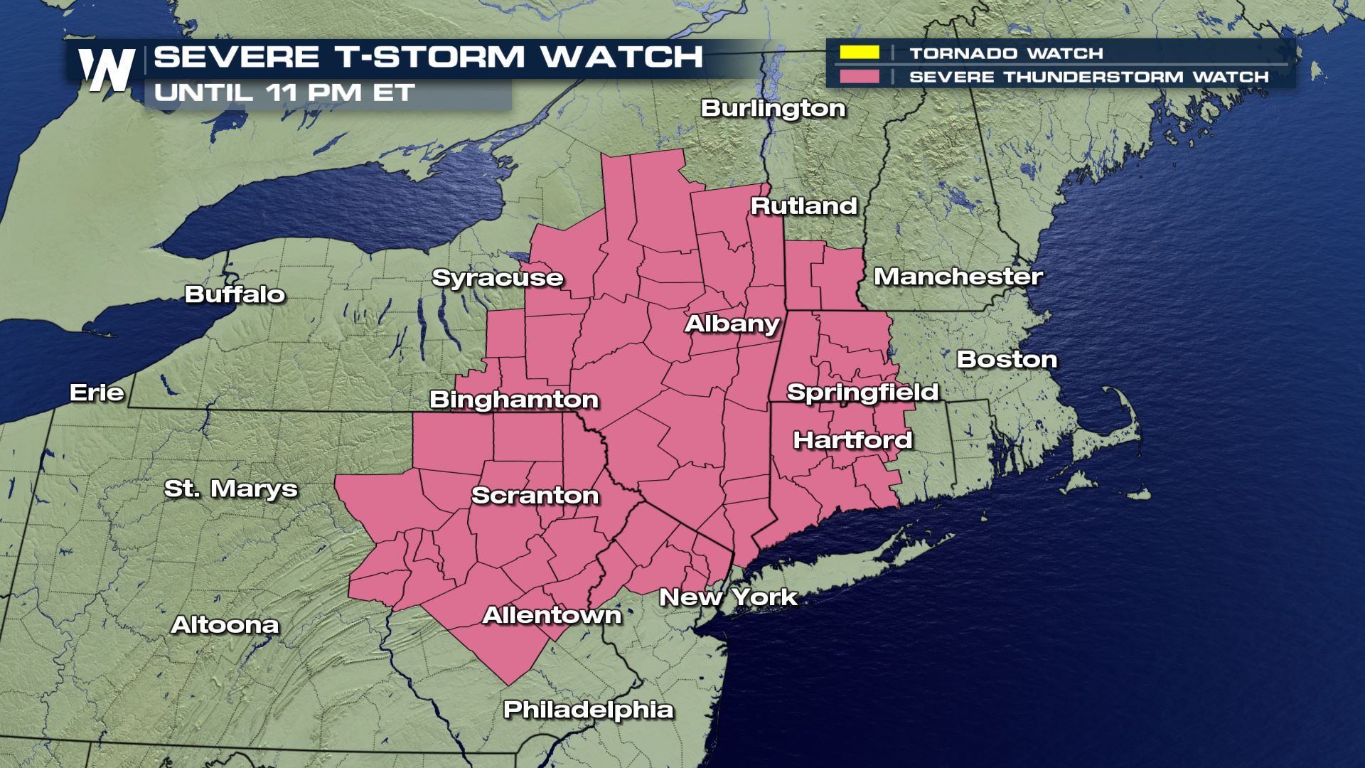 Severe Thunderstorm Watch Issued for the Northeast