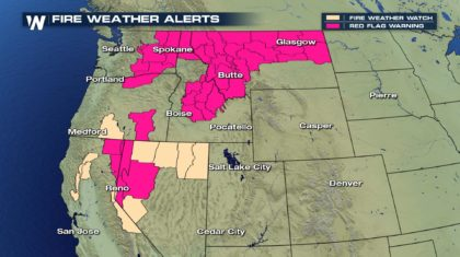 Fire Weather Alerts, Watches Active for Much of Western United States