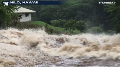 Rushing Water Rages Through Hilo Following Heavy Rain