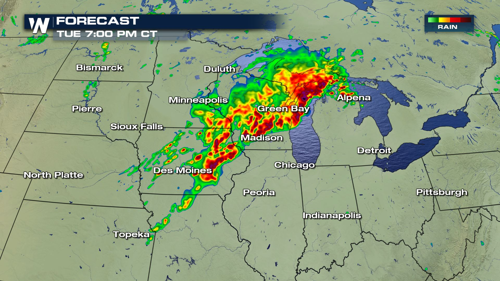 severe storms and heavy from missouri to michigan tuesday