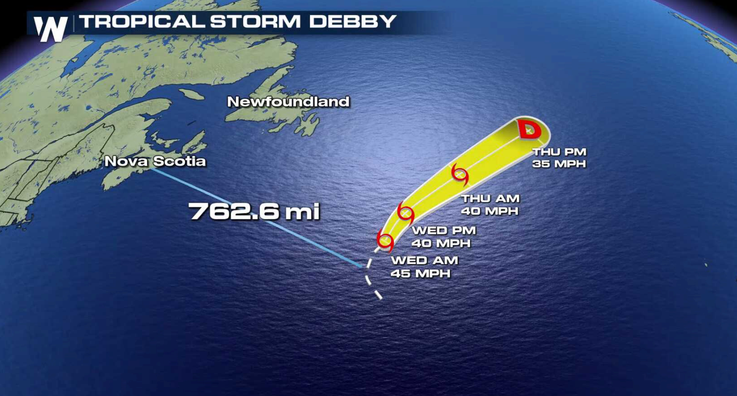 Track of Tropical Storm Debby