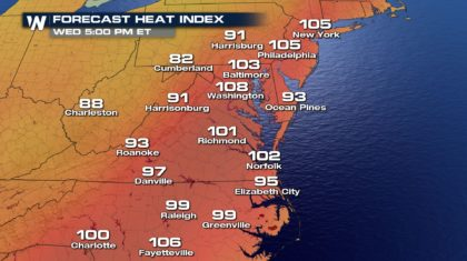 Warm Wednesday for the Mid-Atlantic