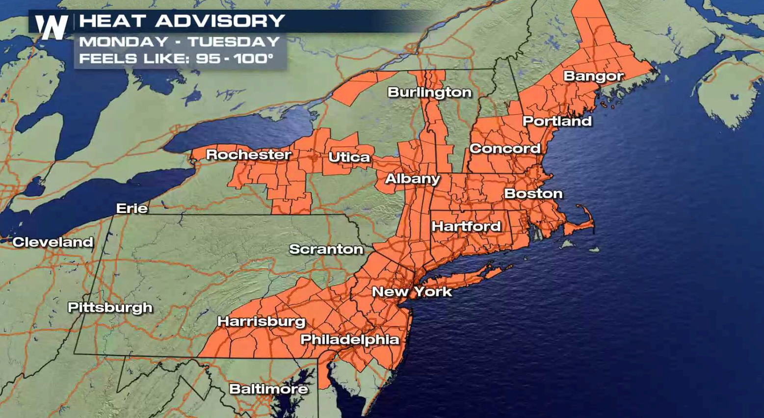 Heat to Start the Workweek in the Northeast