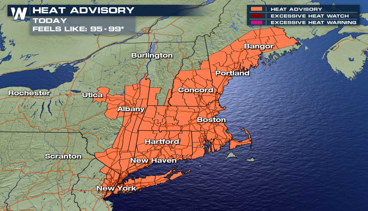Heat Advisories Issued in the Northeast and Southeast