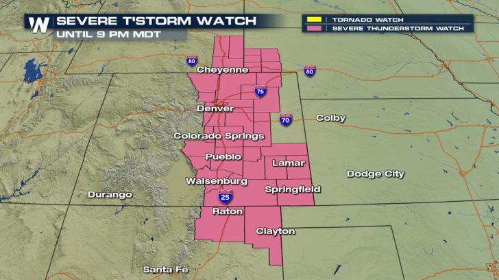 Severe Threat For Denver Area into Monday Evening
