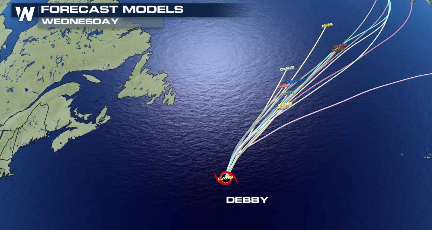 Forecast Models for Tropical Storm Debby