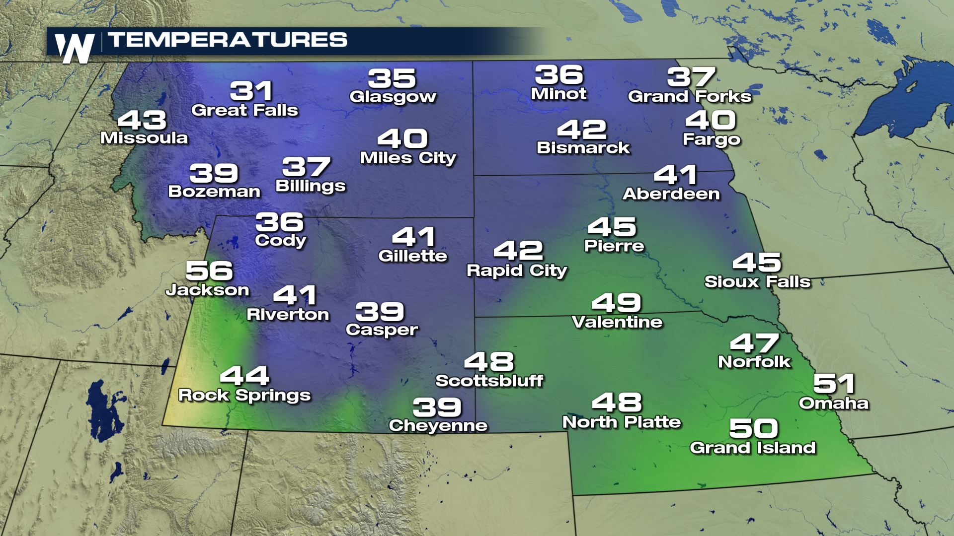 cold temperatures for the high plains sunday