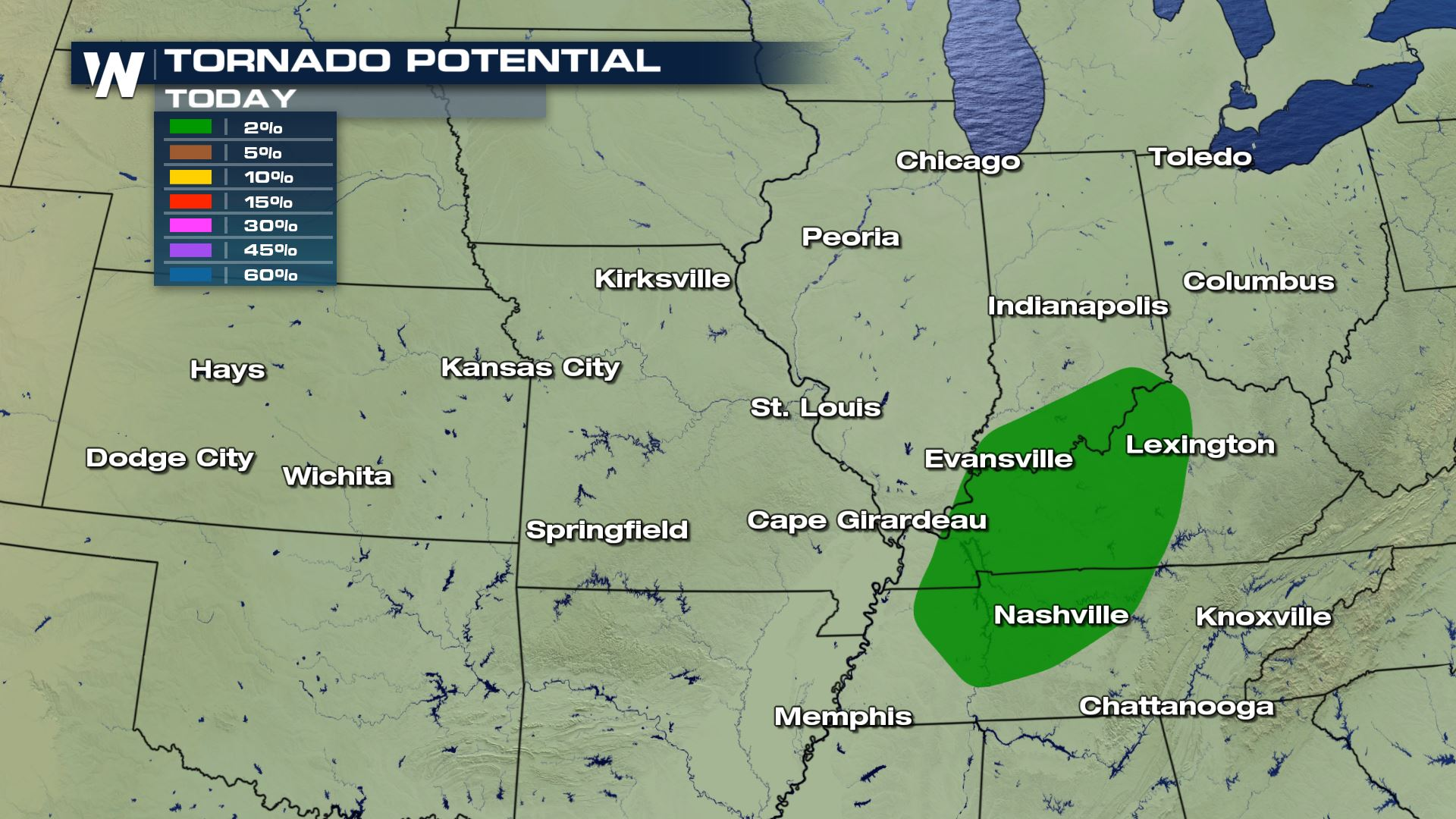 Tornado Risk For Parts Of Tennessee Kentucky And Indiana On Monday